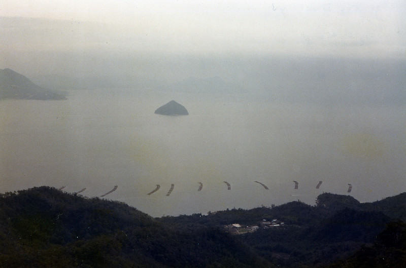 View from the top of Mt. Misen through the telescope at the top. Miya Jima Island. Oct., 1985.