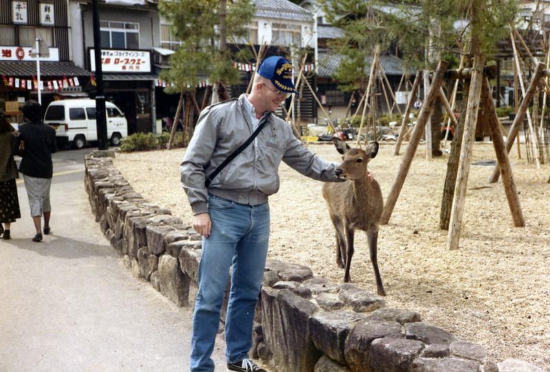 Miya Jima Island, Oct., 1985. Petting the deer.