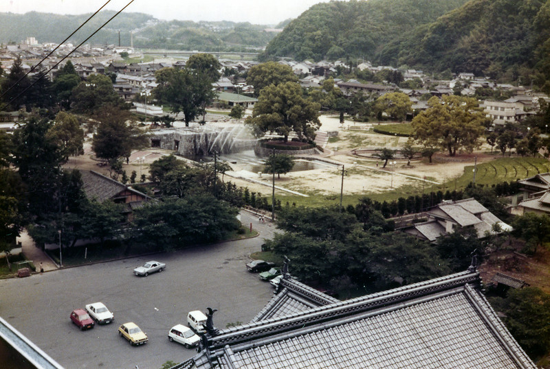 Kintai Castle Park, Iwakuni, Japan. Looking down from cable car. 1 June, 1985.