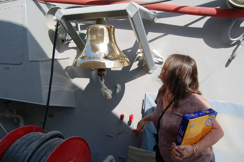 TJ rings the Ship's Bell