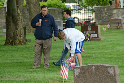 Memorial Day Activities, Naperville, Illinois - Placing Flags on the Veterans Graves at the St. Peter and Paul Cemetery