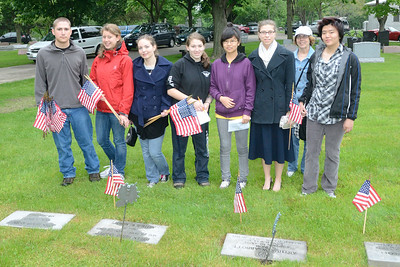 Memorial Day Activities, Naperville, Illinois - Placing Flags on Veterans Graves at the Naperville City Cemetery