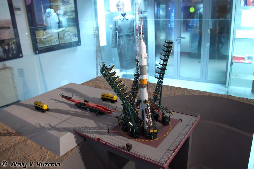 Стартовый комплекс космодрома Байконур с ракетой-носителем Союз (Launched complex of Baikonur Cosmodrome with Soyuz rocket)