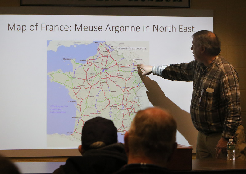Tom Sommer of West Groton gives a talk at the Fort Devens Museum about his November 2019 trip to the Meuse Argonne region of France for the centennial of the end of WWI. (SUN/Julia Malakie)
