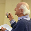 Talk at the Fort Devens Museum about his November 2019 trip to the Meuse Argonne region of France for the centenniel of the end of WWI. Giovanni Aurilio, 91, of Belmont, whose father was in the Italian Army in WWI, holds up his father's medals. (SUN/Julia Malakie)