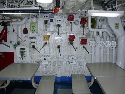 Damage Control Valves on Mess Deck