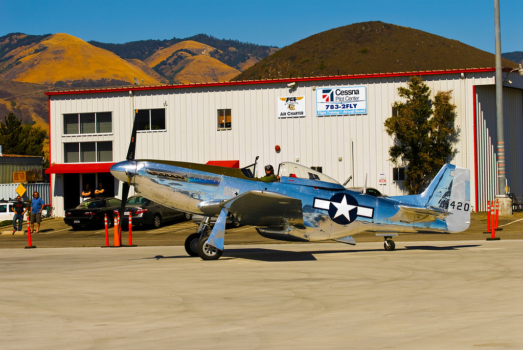 P-51D Mustang<br /> San Luis Obispo County Regional Airport, San Luis Obispo, California <br /> The P51D (restored) flew for the 15th Air Force in Italy