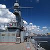 Deckhouse in deck of cruiser Avrora in Saint-Petersburg, Russia