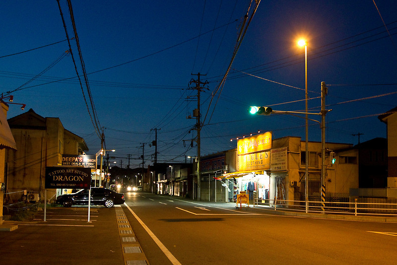 May 11, 2012. Outside main gate at MCAS Iwakuni, Japan. It is mostly deserted these days.