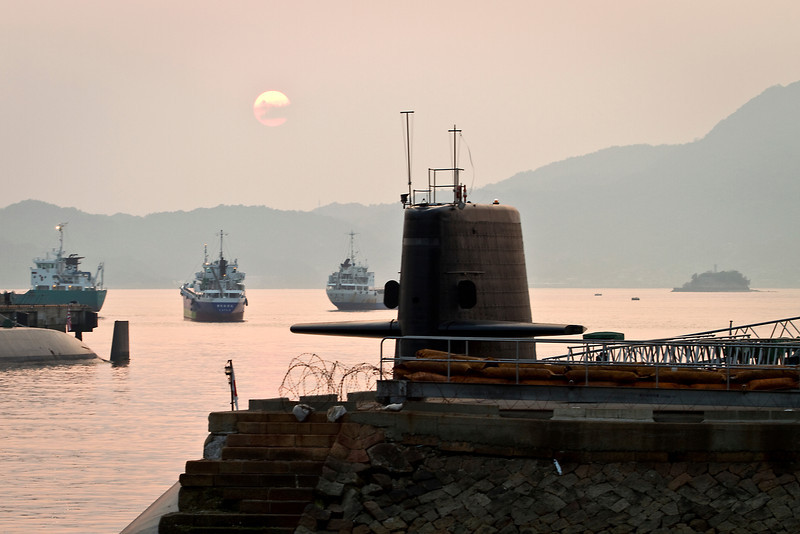 May 8, 2012-Kure Port, Japan. Japanese Navy submarine base.