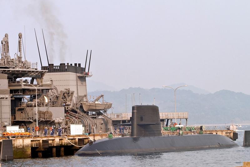 May 9, 2012-Kure Port, Japan. Japanese Navy submarine puts out to sea.