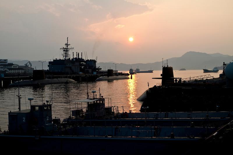 May 8, 2012-Kure Port, Japan. Japanese Navy submarine base.