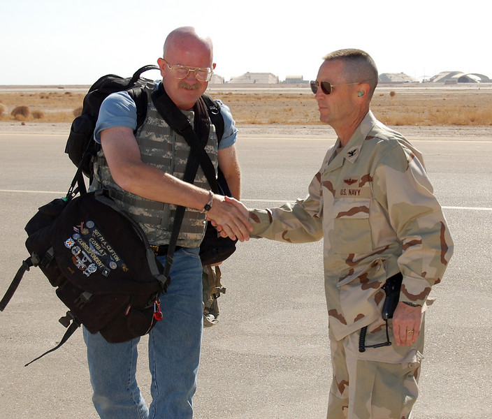 Arriving at Al Asad Air Base, Iraq on Thanksgiving Day, 2007.