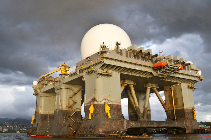 Movable RADAR unit mounted on an oil rig type platform. Photo by Mark Boone, Junior.