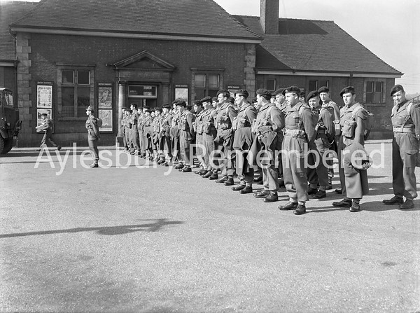 Territorials at Aylesbury Railway Station, Aug 9 1954