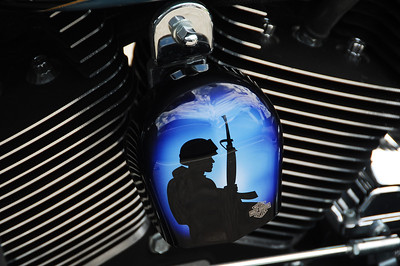 Soldier Silhouette on Motorcycle