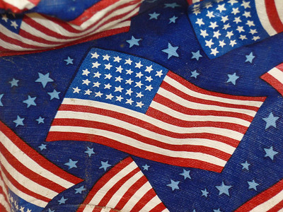 Tablecloth flag at our 4th of July picnic in Warrenville, Illinois