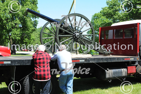 Montgomery Cannon placement in Riverside Cemetery after restoration 5-24-13