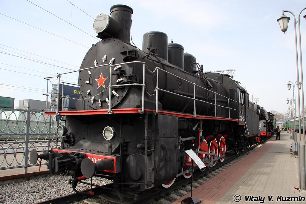 Паровоз Эм 740-57 построен в 1935 году на Харьковском паровозостроительном заводе (Em 740-57 was built in 1935 by Kharkov locomotive-building plant)