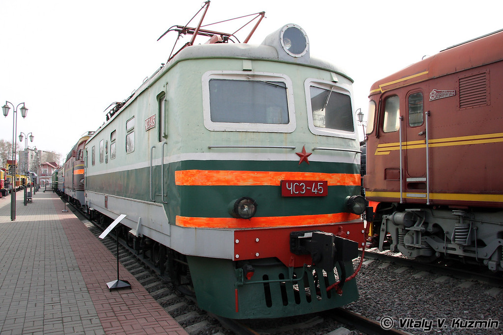 Электровоз ЧС3-045 построен в 1961г. в Чехословакии (Electric Ch3-045 was built in 1961 in Czechoslovakia)