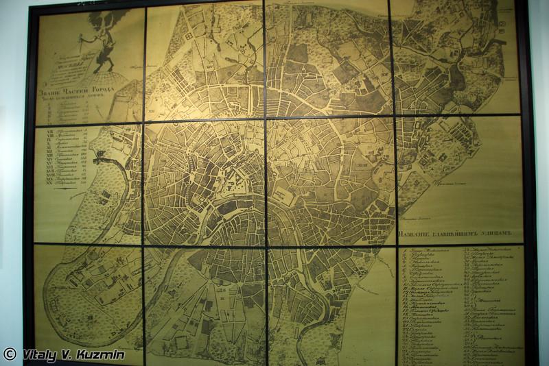 Карта Москвы времен Отечественной войны 18112 года (1812 Moscow map)