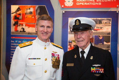 Rear Adm. Mark Rich, commandant, Naval District Washington (NDW) and Former U.S. Navy Chief Petty Officer Henry 'Hank' Kudzik.