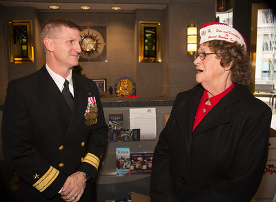 Rear Adm. Mark Rich, commandant of Naval District Washington.  Lou Large -  president of the Sons and Daughters of Pearl Harbor Survivors