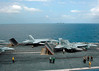 050112-N-4336M-040 Indian Ocean (January 12, 2005) - Aircraft assigned to Carrier Air Wing Two (CVW-2) perform flight operations on the flight deck of the USS Abraham Lincoln (CVN 72). Flight operations are taking place in order to keep the airwing qualified while conducting humanitarian aid missions on the island of Sumatra, Indonesia. Helicopters and Aircraft assigned to Carrier Air Wing Two (CVW-2) and Sailors from the Lincoln are supporting Operation United Assistance, the humanitarian operation effort in the wake of the Tsunami that struck South East Asia. The Abraham Lincoln Carrier Strike Group is currently operating in the Indian Ocean off the waters of Indonesia and Thailand. U.S. Navy photo by Photographer's Mate Airman Cristina R. Morrison (RELEASED)