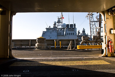 USS Cape St. George seen through a cargo handling door