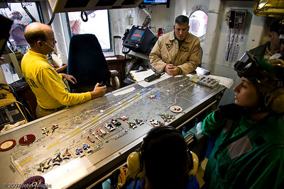 "Flight Deck Control.  The table used to plot locations of aircraft on the flight deck is commonly called the ""Ouija board."""
