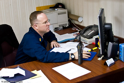 """Bull"" Ensign William E. Snider, Ship's secretary.  The ""Bull"" Ensign is the most senior Ensign on the ship."