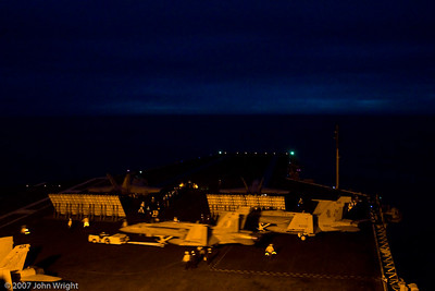 Flight deck at twilight