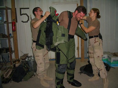 """Noah is strapped in to an 80-pound """"bomb suit."""""""