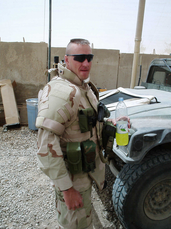 CPT Greg Hirschey, head of the 717th EOD Company, drinking his beloved Gatorade slushie.