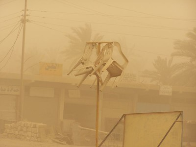 Dust storms reduced visibility to almost zero.