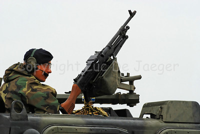 The FN MAG mounted on top of the Bandvagn BvS10 Viking in use by the Dutch Royal Marines during Operation Storm Tide in Ostend (Oostende), Belgium, a Field Training Exercise (FTX) with Belgian Paratroopers.