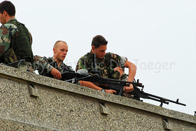 Dutch Royal Marines testing their rifles on top of the Koninklijke Galerijen (Royal Galleries) along the Beach Promenade (Zeedijk) in Ostend (Oostende, Belgium, during operation Storm Tide, a Field Training Exercise in cooperation with Belgian paratroopers.