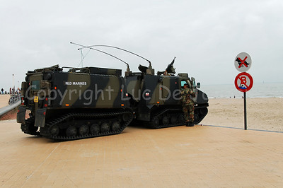 The Bandvagn BvS10 Viking in use by the Dutch Royal Marines during Operation Storm Tide on the Beach Promenade in Ostend (Oostende), Belgium, a Field Training Exercise (FTX) with Belgian Paratroopers.