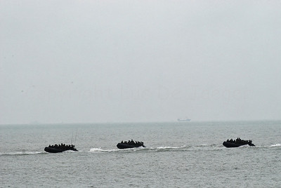 Dutch Royal Marines proceeding in intervention boats for an amphibitious landing on a beachhead in Ostend (Oostende), Belgium during Operation Storm Tide, a Field Training Exercise (FTX) in cooperation with Belgian paratroopers.