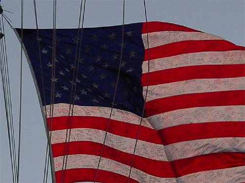 A United States flag that flew over the World Trade Center bombing site now watches over American forces engaged in Operation Enduring Freedom. The 12-by-18-foot flag, bearing the names of victims of the attack, as well as prayers and words of encouragement, was sent to the 26th Marine Expeditionary Unit (Special Operations Capable) by the people of New York.