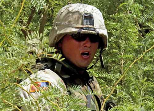 Calling to fellow Soldiers after finding a cache of rockets hidden in a bush near Bayji, Iraq.