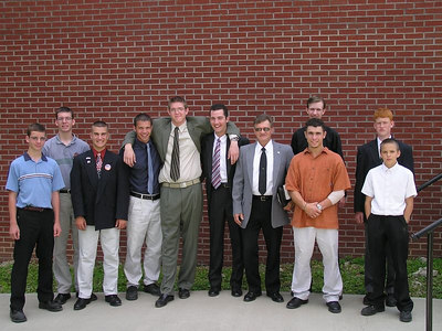 GREG WITH HIS CHURCH FRIENDS AND SUNDAY SCHOOL TEACHER, MR. HAINES. PICTURE TAKEN BEFORE HE LEFT FOR THE MARINES!