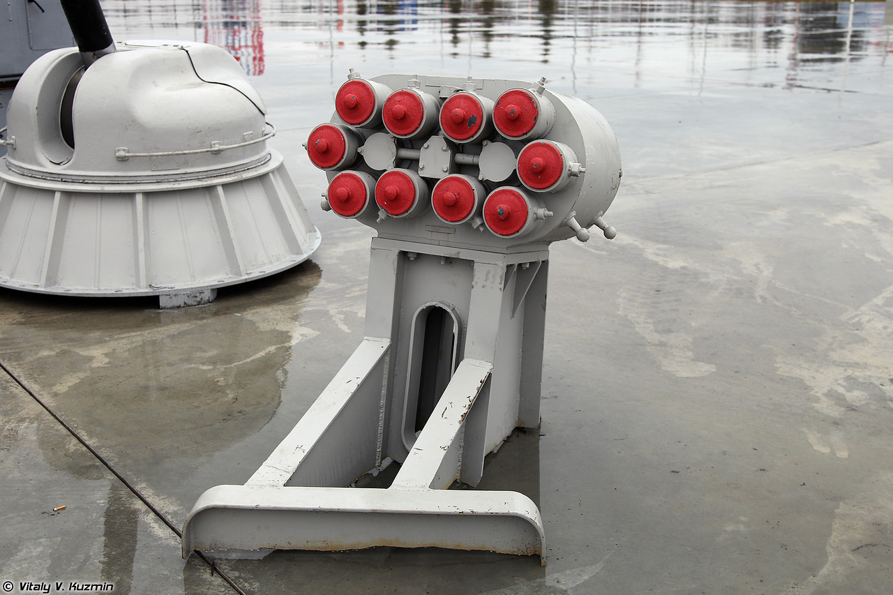 Пусковая установка КТ-216 комплекса постановки помех ПК-10 (KT-216 launcher of PK-10 naval countermeasures system)