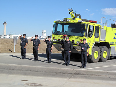 Denver Fire and Police assisting with the escort onto the airport property and showing their respect.  What a great thing to see and experience!