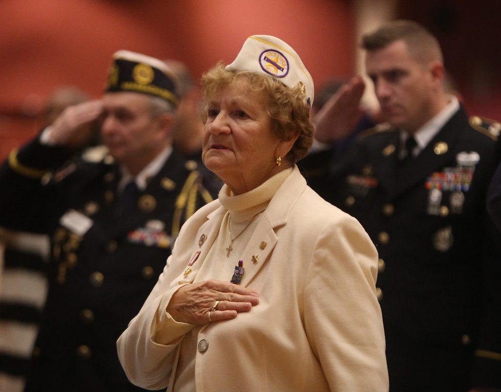 . Gold Star wife and mother Irene Finneral of Lowell, at Greater Lowell Veterans Council\'s Pearl Harbor Day observance at Lowell Memorial Auditorium. (SUN/Julia Malakie)