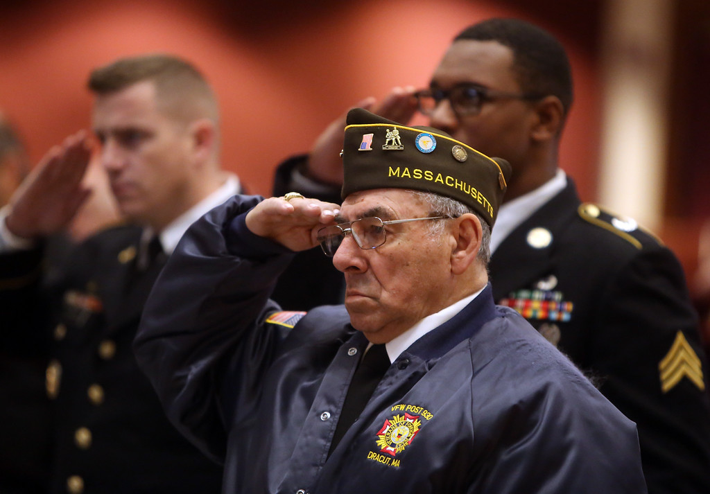 . Greater Lowell Veterans Council\'s Pearl Harbor Day observance at Lowell Memorial Auditorium. Chaplain of the Day Richard Ducharme. (SUN/Julia Malakie)