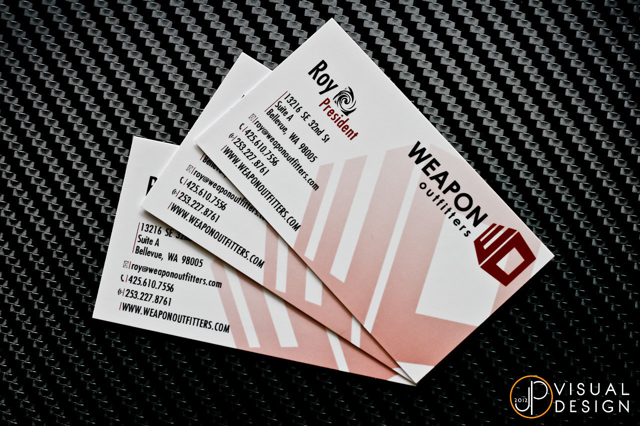 My good friend Roy over at Weapon Outfitters needed some business cards. Here's what I rustled up for him. Fairly straightforward one-sided card, but with some UV gloss on the text for some pop!  The print work was done by Seattle Printworks. Can't recommend them enough. I don't bother with a physical proof anymore, they get it right, the first time, every time.