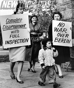 Women and children protest the nuclear policy in New York. 1961