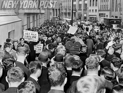 New York City residents flood the streets to protest the Vietnam War. 1966