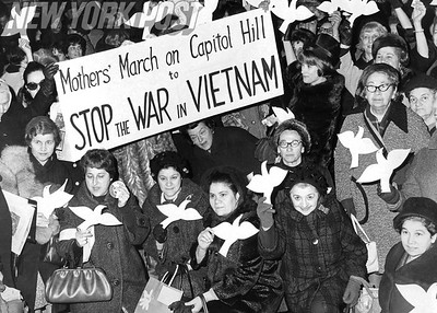 Group of women protest the Vietnam War at Penn station. 1966
